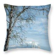 Mackinac Bridge Birch Throw Pillow