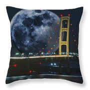 Mackinac Bridge Fantasy Throw Pillow