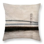Mackinac Bridge Grunge Throw Pillow