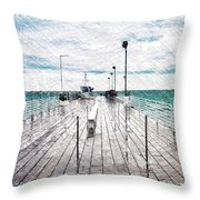 Mackinac Island Michigan Shuttle Pier Pa 02 Throw Pillow