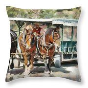 Mackinac Island Transportation - Surrey With The Fringe On Top Throw Pillow