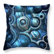 Macro 3d Blue Reflections Throw Pillow