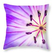 Macro Closeup Of A Purple Flower Stamen Throw Pillow