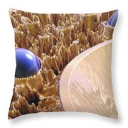 Macro Fractal With Blue Spheres Throw Pillow