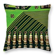 Macro Image Of A Computer Motherboard Throw Pillow