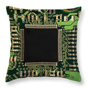 Macro Image Of A Hard Disk Controller Throw Pillow