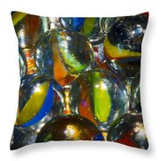 Macro Marbles Throw Pillow
