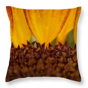 Macro Sunflower Throw Pillow