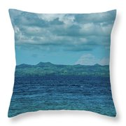 Madagascar, Nosy Be, Small Boat In Sea Throw Pillow