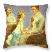 Madame Bouchet Et Ses Filles Throw Pillow