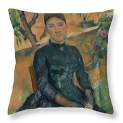 Madame Czanne Hortense Fiquet 18501922 In The Conservatory Throw Pillow