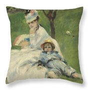 Madame Monet And Her Son Throw Pillow