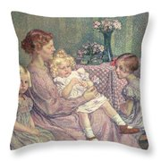 Madame Van De Velde And Her Children Throw Pillow by Theo van Rysselberghe