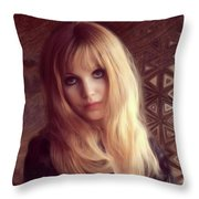 Madeline Smith, Vintage Actress Throw Pillow