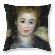 Mademoiselle Henriot Or Young Girl With A Blue Ribbon Throw Pillow