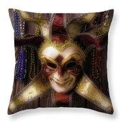 Madi Gras Mask And Beads Throw Pillow