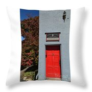 Madison Red Fire House Door Throw Pillow