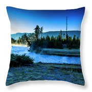 Madison River Yellowstone At Dawn Throw Pillow