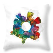 Madison Small World Cityscape Skyline Abstract Throw Pillow