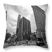 Madison Square Flatiron And Clock Tower New York Ny Black And White Throw Pillow