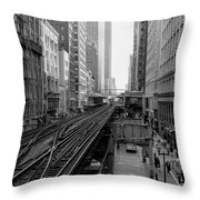 Madison St - Wabash Station - Chicago Loop Throw Pillow