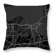 Madison Wisconsin Usa Dark Map Throw Pillow