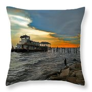 Madisonville Katrina Ghost Boat  Throw Pillow