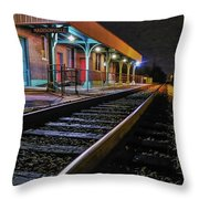 Madisonville Train Depot Throw Pillow