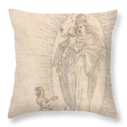 Madonna And Child Appearing To A Supplicant Throw Pillow