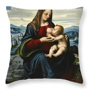 Madonna And Child Before A Landscape Throw Pillow