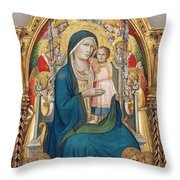 Madonna And Child Enthroned With Twelve Angels Throw Pillow