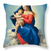 Madonna And Child In Glory Throw Pillow