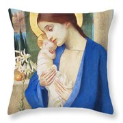 Madonna And Child Throw Pillow by Marianne Stokes