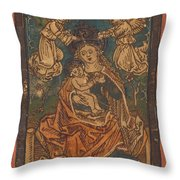 Madonna And Child Seated On A Grassy Bank With Angels Throw Pillow