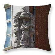 Madonna And Child Statue On The Corner Of A House In Bruges Throw Pillow
