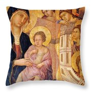Madonna And Child Surrounded By Angels Throw Pillow