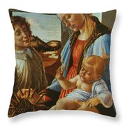Madonna And Child With An Angel Throw Pillow