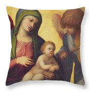 Madonna And Child With Angels Throw Pillow