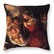 Madonna And Child With Child And Angles Throw Pillow