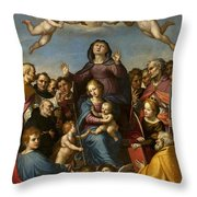 Madonna And Child With Saint Anne And The Patron Saints Of Florence Throw Pillow