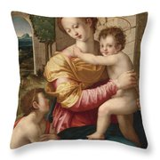 Madonna And Child With Saint John The Baptist Throw Pillow
