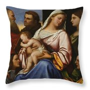 Madonna And Child With Saints And Donors Throw Pillow