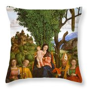 Madonna And Child With Saints Throw Pillow