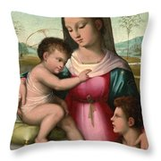 Madonna And Child With The Infant Saint John The Baptist Throw Pillow