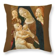 Madonna And Child With Two Angels Throw Pillow