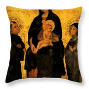 Madonna In Gloria Between Saint Francis And Santa Chiara Gentile Throw Pillow