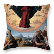 Madonna In Glory And Holy Hones Throw Pillow