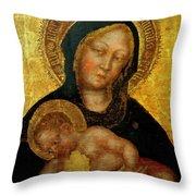 Madonna With Child Gentile Da Fabriano 1405 Throw Pillow