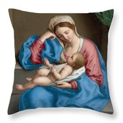 Madonna With The Infant Christ Child Holding A Goldfinch On A String  Throw Pillow