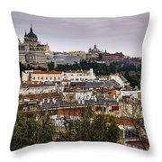Madrid Panorama From Debod Lookout Madrid Spain  Throw Pillow